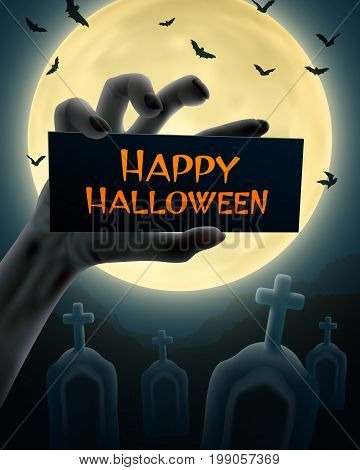 Undead hand with sign 'Happy Halloween' on full moon and cemetery background. Vector illustration.