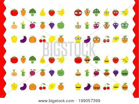 Fruit berry vegetable face icon set Moustaches eyeglasses sunglasses. Strawberry pineapple grape apple cherry lemon Pepper tomato carrot broccoli onion corn beet eggplant pumpkin Vector