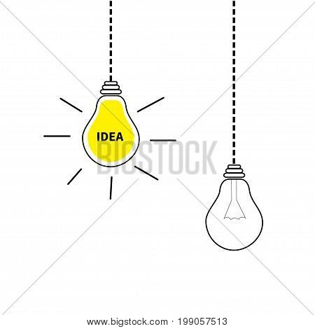 Hanging light bulb icon set. Switch on off lamp. Idea text inside. Shining effect. Dash line. Yellow color. Business success concept. Infographic. Flat design. White background. Isolated. Vector