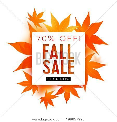 Fall sale. Realistic autumn maple leaves with text. Momiji. Vector illustration isolated on white.