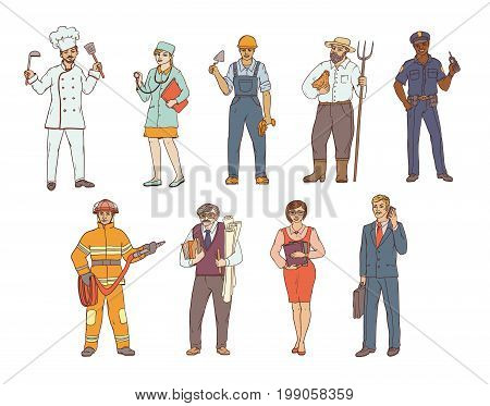 People of various professions in overalls and with tools in hand. Vector colored sketch of a realistic illustration. Women and men working in different sectors of production and services