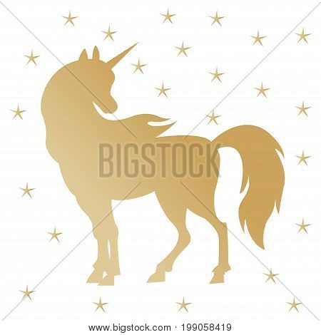 Unicorn silhouette illustration. Golden magic unicorn with stars on white background. Fairy horse animal. Cute magic cartoon fantasy cute animal.  Dream symbol. Design for children.