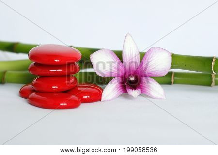 Red pebbles arranged in zen lifestyle with a two-tone orchid on the right side of the bamboo posed behind the whole on a white background