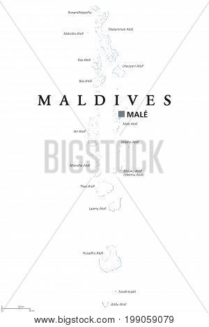 Maldives political map with capital Male. English labeling. Republic and South Asian island Country in the Indian Ocean. A chain of atolls. Gray illustration on white background. Vector.
