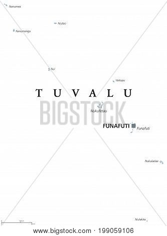 Tuvalu political map with capital Funafuti. English labeling. Formerly Ellice Islands, a Polynesian island nation in the Pacific Ocean. Gray illustration on white background. Vector.