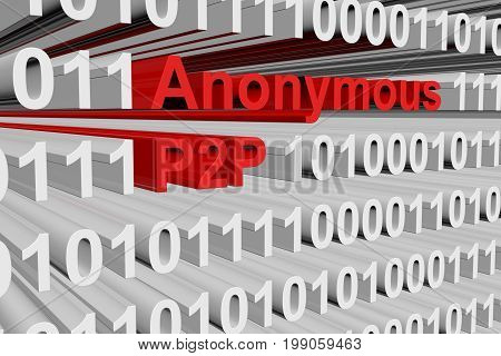 Anonymous P2P in the form of binary code, 3D illustration