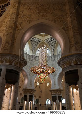 Interior view to Sheikh Zayed Mosque in Abu-Dhabi UAE