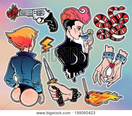 Set of cute bad girl, crime and violence related classic flash tattoo style patches or elements. Set of traditional stickers, pins, in 90 s comic style. Pop art items. Vector collection, stikers kit.