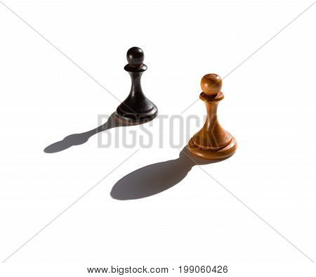 two chess pawns one casting a bishop piece shadow concept of strength and aspirations