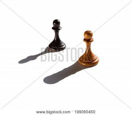 two chess pawns one casting a rook piece shadow concept of strength and aspirations