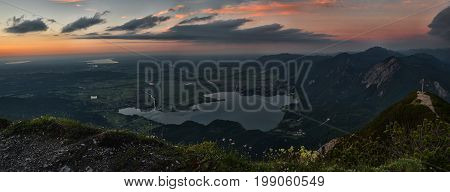 View To Alpine Foothills And Lake Kochelsee At Sundown
