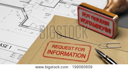 Request for information printed on a kraft envelop with office supplies rubber stamp and blueprint RFI and construction concept. 3D illustration