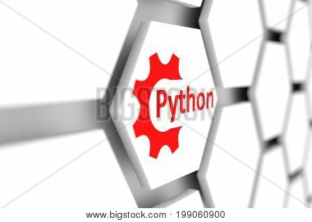 Python cell wheel gear blurred background 3d illustration