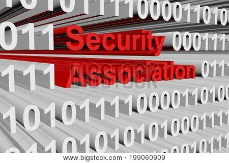 Security association represented as a binary code 3D illustration