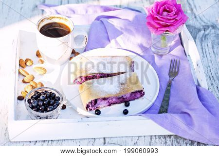 Strudel With Blueberries. Pie, Strudel With Berries.