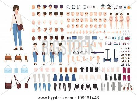 City woman character constructor. Nice girl creation set. Different postures, hairstyle, face, legs, hands, clothes collection. vector cartoon illustration. front side back view