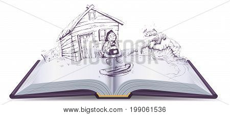Tale of Fisherman and Golden Fish. Old woman sits at broken trough. Open book vector illustration