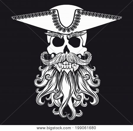 Pirate symbol Jolly Roger with a beard and wearing a hat