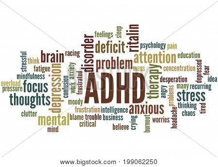 Adhd - Attention Deficit Hyperactivity Disorder, Word Cloud Concept