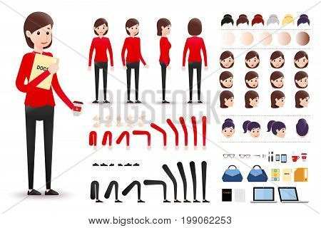 Female Clerk Character Creation Kit Template with Different Facial Expressions, Hair Colors, Body Parts and Accessories. Vector Illustration.