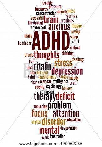 Adhd - Attention Deficit Hyperactivity Disorder, Word Cloud Concept 2