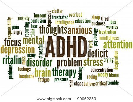 Adhd - Attention Deficit Hyperactivity Disorder, Word Cloud Concept 4