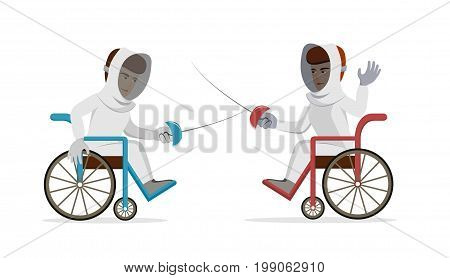 Physically disabled athletes fencing in a wheelchair. Handicapped sportsmen with rapiers. Vector flat illustration on isolated background. Concept for sport, summer paralympic games, swordplay.