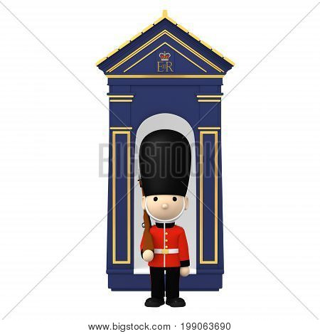 Queen's Guard in traditional uniform with gun. British soldier on white, 3D illustration