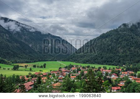 The Village Bayrischzell In Mountains Of Alps, Bavaria Germany