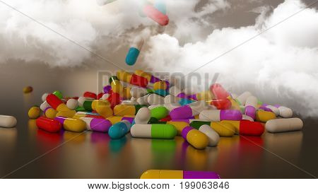 3D rendering multicolored medical pills falling from a thundercloud