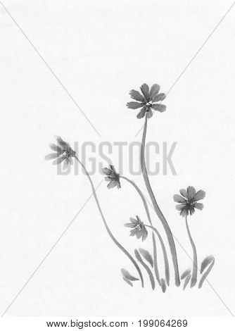 Early spring flowers on white background ink painting. Traditional chinese painting