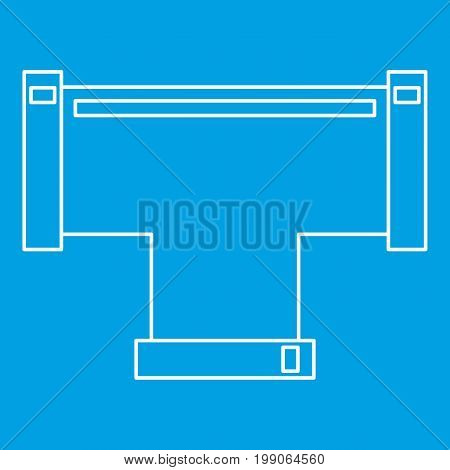 T pipe connection icon blue outline style isolated vector illustration. Thin line sign