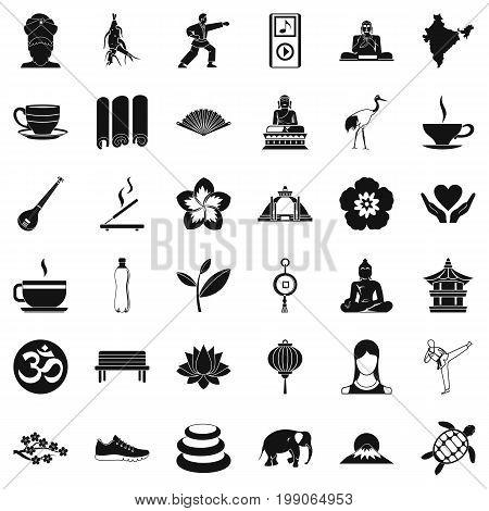 Yoga amulet icons set. Simple style of 36 yoga amulet vector icons for web isolated on white background