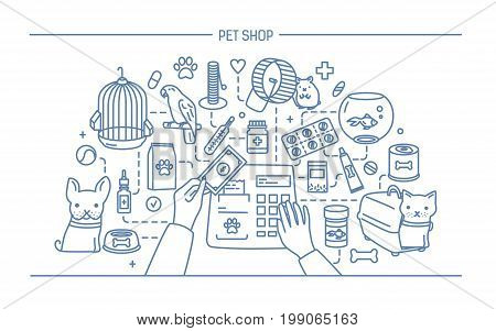 Pet shop contour banner with animals and meds selling. Horizontal contour line art vector illustration