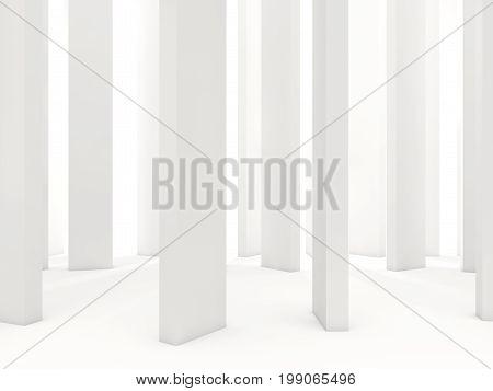 White Columns Isolated On White Background
