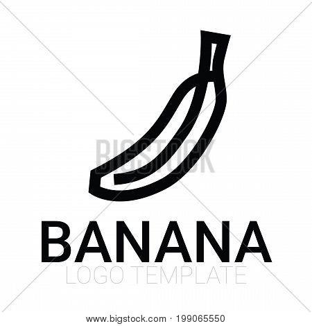 Banana isolated vector icon - banana fruit isolated logo - juice, jam, branding