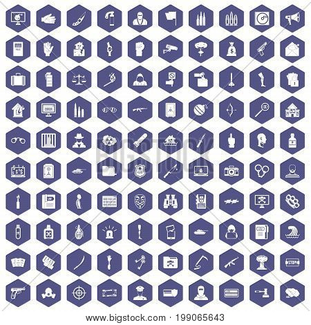 100 violation icons set in purple hexagon isolated vector illustration