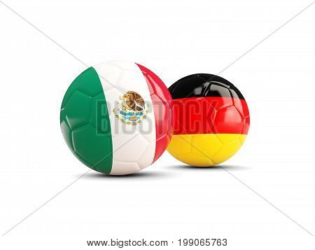 Mexico And Germany Soccer Balls Isolated On White Background