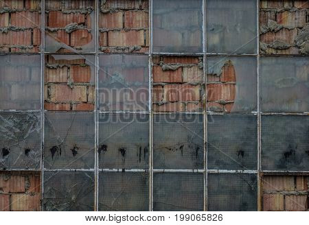 The Old Brick Wall With Glass Of Window.