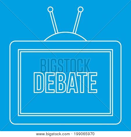 TV Debate icon blue outline style isolated vector illustration. Thin line sign