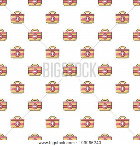 First aid bag pattern in cartoon style. Seamless pattern vector illustration