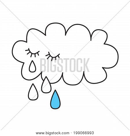 Crying cloud tears like rain - stylized drawing