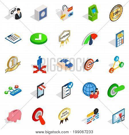 Leadership icons set. Isometric set of 25 leadership vector icons for web isolated on white background