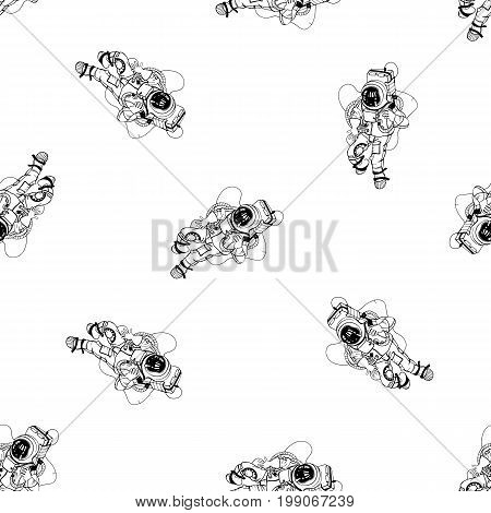 Astronaut in spacesuit seamless pattern. Cosmonaut in space on white background. Black and white outline vector illustration