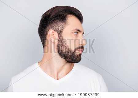 Advertising Barbershop Concept. Profile Side Portrait Of Handsome Brunet Bearded Young Man. He Has A