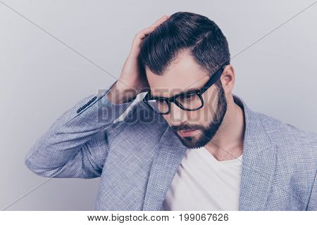 High Angle View Of Confident Handsome Brunet In Smart Casual, Glasses, Standing On The Pure Backgrou