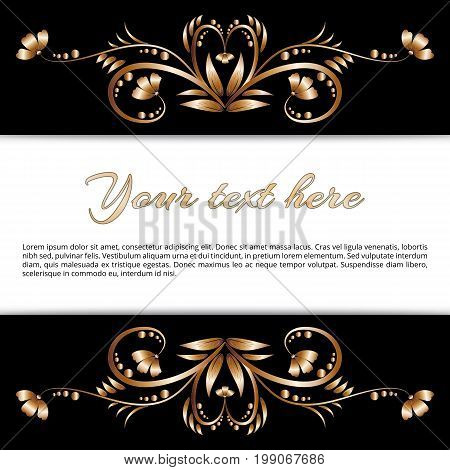 Bright golden frame of flowering flowers on a black background for the perfect design of your messages, greetings, and suggestions
