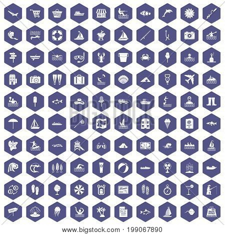 100 water recreation icons set in purple hexagon isolated vector illustration