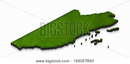 Map Of Belize. 3D Isometric Perspective Illustration.