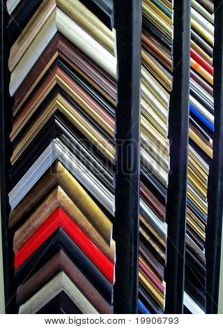 Framing frame corners display shelves with colorful choices poster